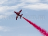 Red Arrows Hawk T1A red smoke trail
